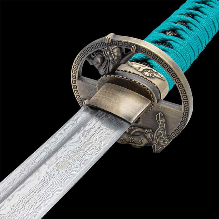 Shinwa Regal Katana Teal Sword Damascus