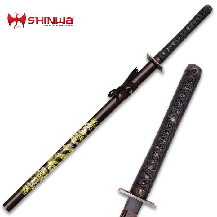 Shinwa Knights Dragon Katana Black Damascus Sword