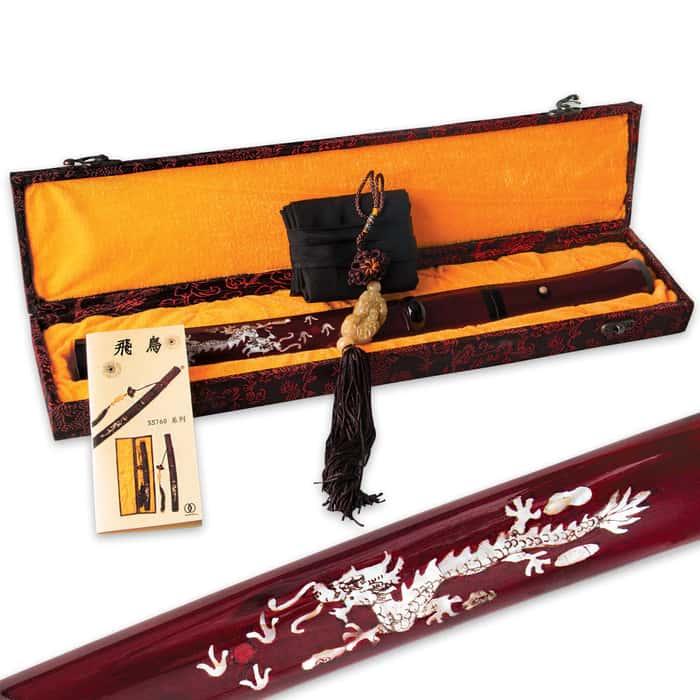 Crimson Red & Mother of Pearl Dragon Carbon Steel Samurai Tanto Sword