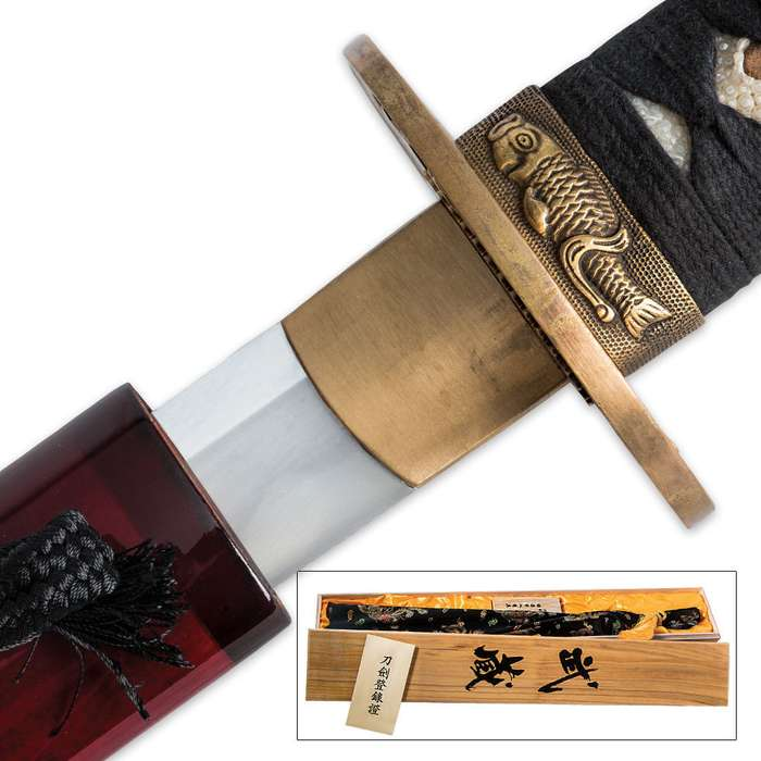 Hand Forged 1060 High Carbon Steel Musha Kobuse Sword With Bamboo Scabbard