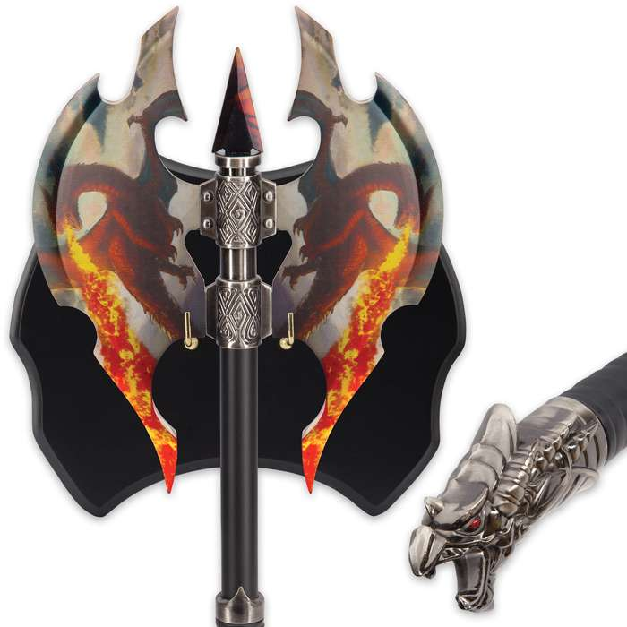 Flame Chaser Double Head Dragon Axe with Plaque