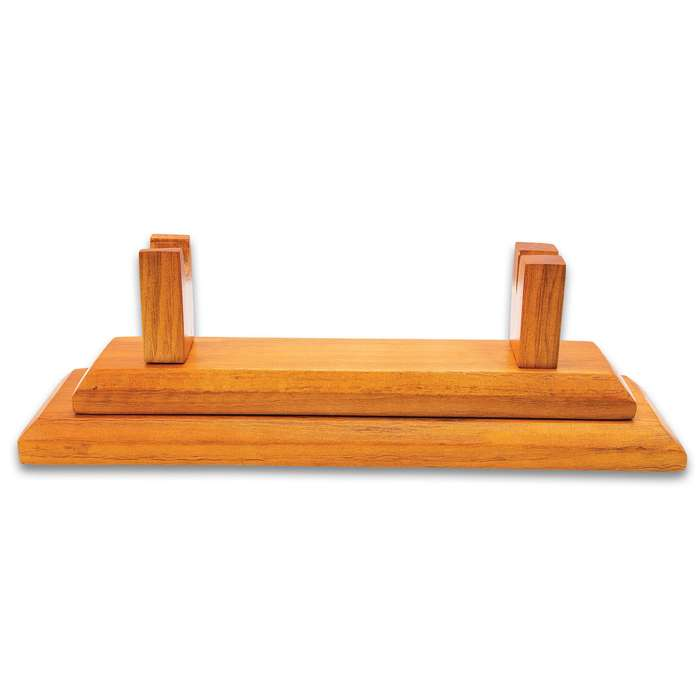 """Premium Wooden Knife Display Stand - Glossy Natural Finish, Special Rests For Blade Tip And Handle - Dimensions 13 3/4""""x 4""""x 5"""""""