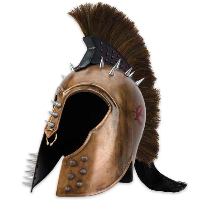 Punk Trojan Helmet with Ponytail