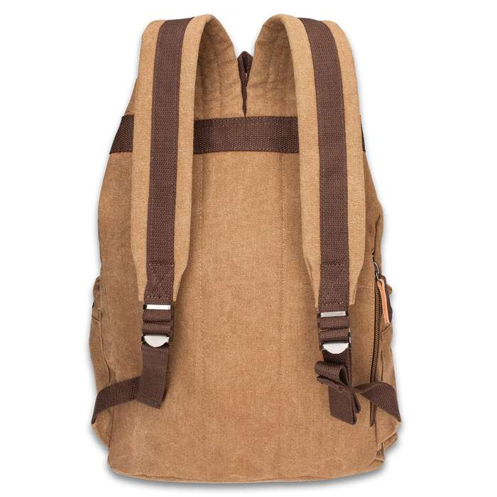 Outback Traveler Rucksack - Canvas Construction, Soft Lining, Spacious Interior, Leather Accents, Multiple Pockets, Metal Hardware