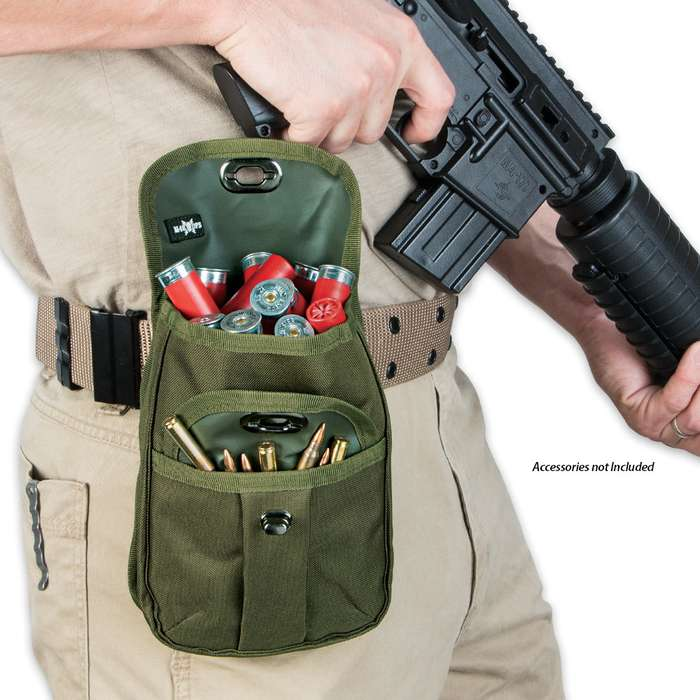 M48 OPS Canvas Two-Pocket Ammo and Accessory Pouch - OD Green