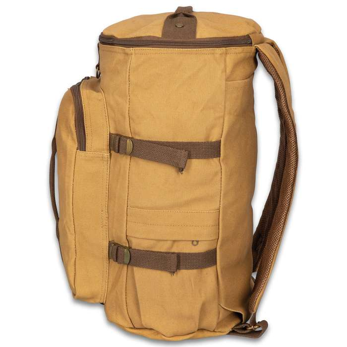 """Coyote Brown Convertible Duffle and Backpack - Cotton Canvas Construction, Hideaway Padded Straps, Carry Handle - Dimensions 19""""x 11"""""""