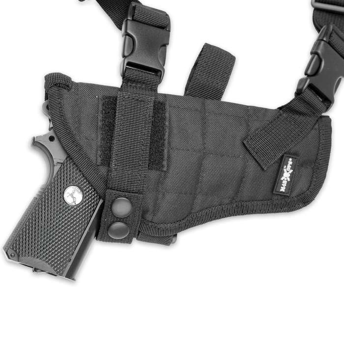 M48 OPS Universal Horizontal Shoulder Holster - Black - Fits Most Pistols / Handguns - Semiautomatic / Semi Auto, Revolvers, More - Double Mag Pouches - Padded Shoulder - Adjustable Harness
