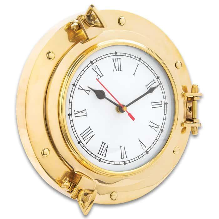"Ship Porthole Wall Clock - High-Quality Brass Construction, Roman Numerals, Working Porthole - Diameter 9"""