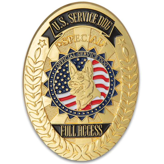 """Service Dog Badge With Leather Case - Metal Alloy Construction, Highly Detailed, ID Holder - Dimensions 5""""x 3"""""""