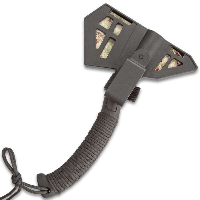"""Vector Camouflage Field Axe With Sheath - Stainless Steel Head, Camouflage, Paracord Wrapped ABS Handle - Length 11 1/4"""""""