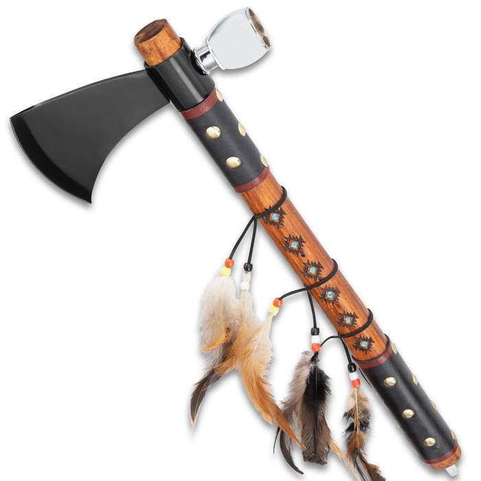Southwestern Tomahawk Peace Pipe - Stainless Steel Head With Bowl, Wooden Handle, Leather Grip, Feather And Brass Stud Accents - Length 17 3/4""