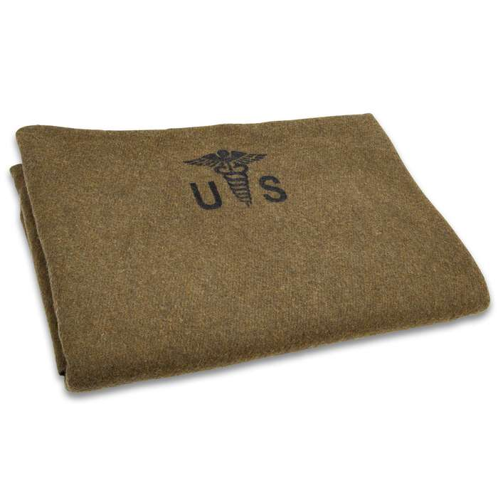 "Reproduction US Army Medic Wool Blanket - 80 Percent Wool Construction, Printed Logo - Dimensions 64""x 84"""