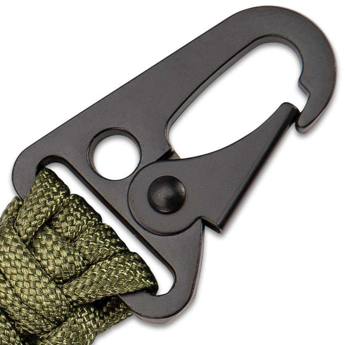 """BugOut Paracord Key Ring With Flint Striker - 300-LB Hand-Woven Paracord, Spring Gate Sling Clip - Length 6"""""""