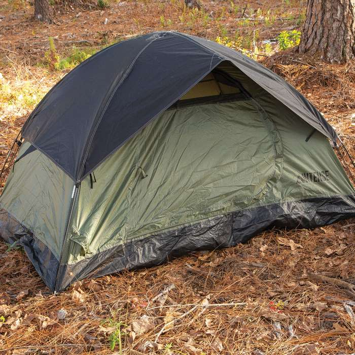 Intense Two-Person Dome Tent - OD, Door Awning, Rainfly, Rip-Resistant Polyester Shell, Fiberglass Pole Frame, Carry Bag - Dimensions 7'x 5'x 4'
