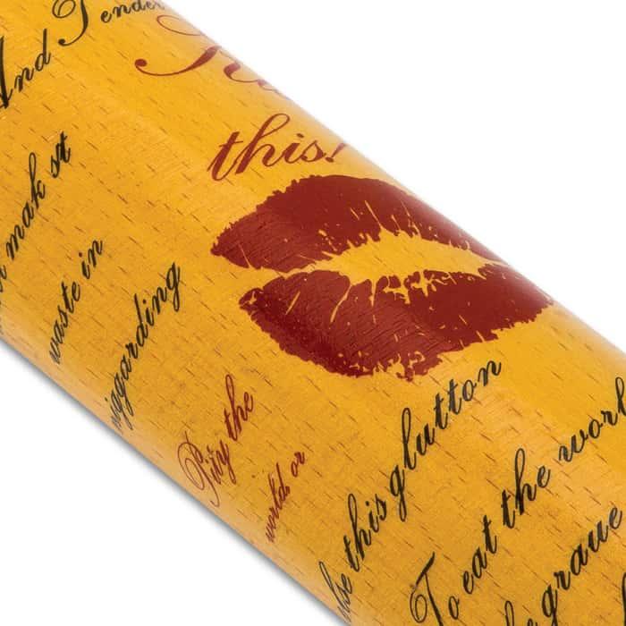 "Kiss This Decorative Baseball Bat - Genuine Hardwood Construction, Vivid Designs, Tape Wrapped Handle - Length 32"""