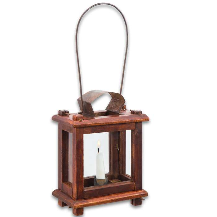 """Colonial Wooden Lantern - Historical Reproduction, Glass Door, Metal Hanger, Metal Hinges, Tin Accent - Height 8 1/2"""""""
