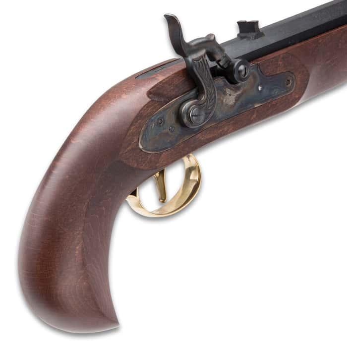"Kentucky Classic Muzzleloading Pistol - Blued Barrel, Hardwood Stock, 50 Caliber, Percussion Ignition - Length 15"""