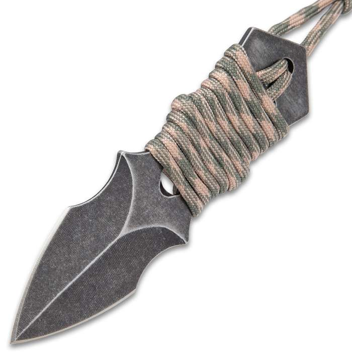 Black Legion Spearhead Neck Knife With Sheath - Solid Stainless Steel Construction, Stonewashed Finish, Paracord Wrapped Handle - Length 4 3/4""