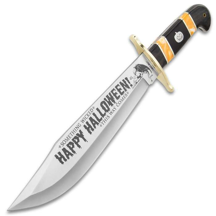 """Timber Wolf 2019 Limited Edition Halloween Bowie Knife With Sheath - Stainless Steel Blade, Etchings, Bone And Wood Handle - Length 16"""""""
