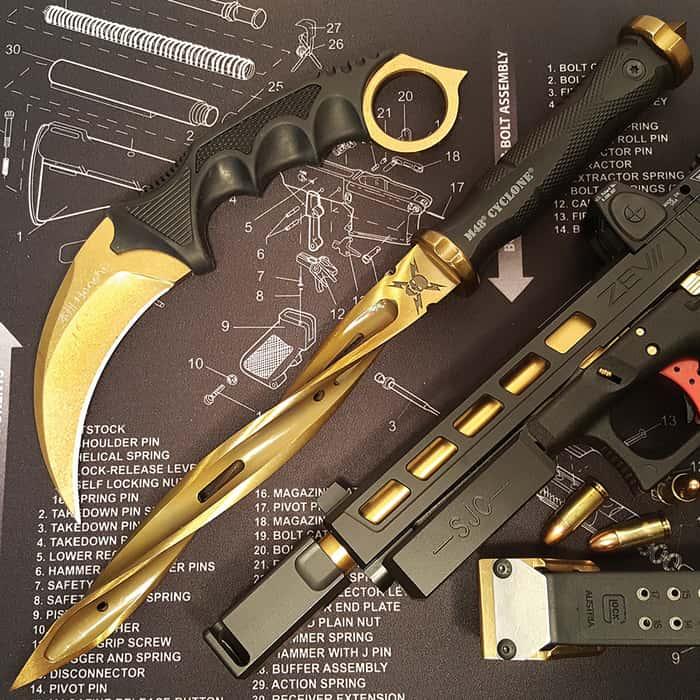 M48 Cyclone Gold Fixed Blade Knife with Custom Vortec Sheath