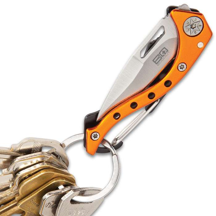 BugOut Carabiner Pocket Knife - Stainless Steel Locking Blade, Cast Aluminum And TPU Handle - Length 4 3/4""