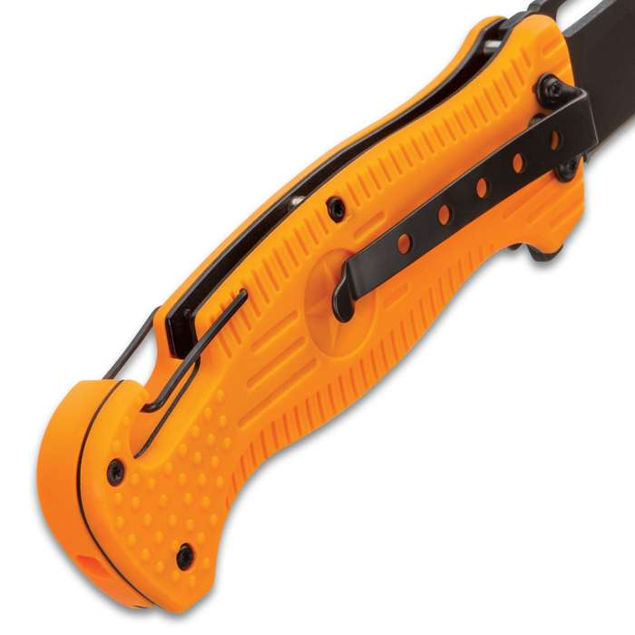 BugOut Rescue Orange Pocket Knife With Flashlight - Stainless Steel Blade, TPU Handle, Integrated Carabiner Clip, Pocket Clip