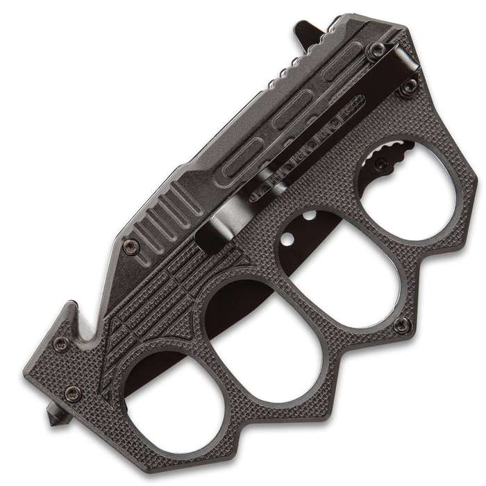 "Black Folding Knuckle Knife - Stainless Steel Blade, ABS Handle, Seatbelt Cutter, Glass Breaker - Closed Length 5 1/4"""