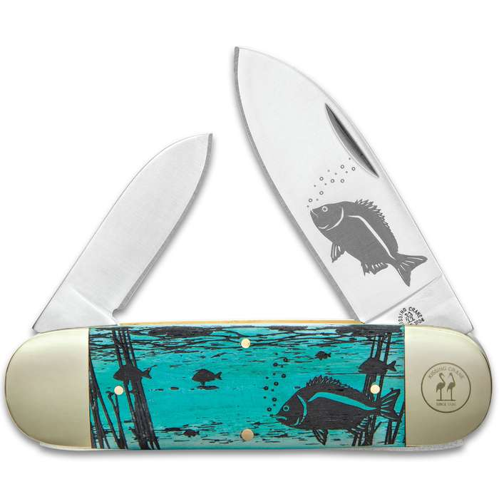Kissing Crane Limited Edition Sunfish Pocket Knife - Stainless Steel Blades, Bone Handle Scales, Nickel Silver Bolsters