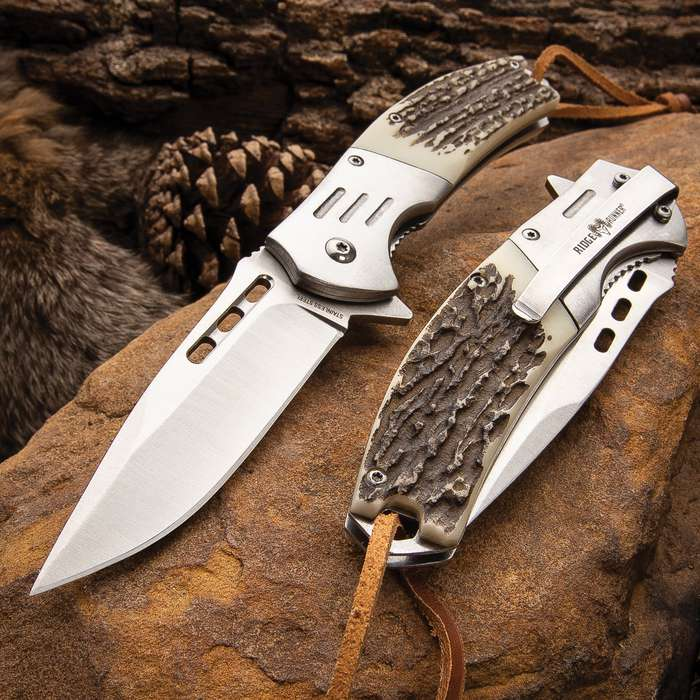"Ridge Runner Bone Gentleman Assisted Opening Hunting Pocket Knife - Length 8 1/2"""