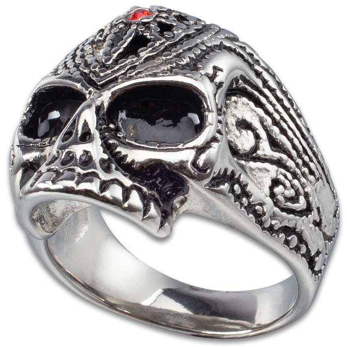 Skull Ring With Faux Ruby - Stainless Steel Construction, Lifetime Of Wear, Highly Detailed, High-Quality, Everyday Wear