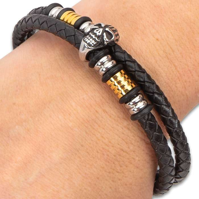 Leering Skull Black Braided Leather Bracelet - Gold And Silver Stainless Steel Accents, Double Strand, Sturdy Locking Clasp - One Size Fits All