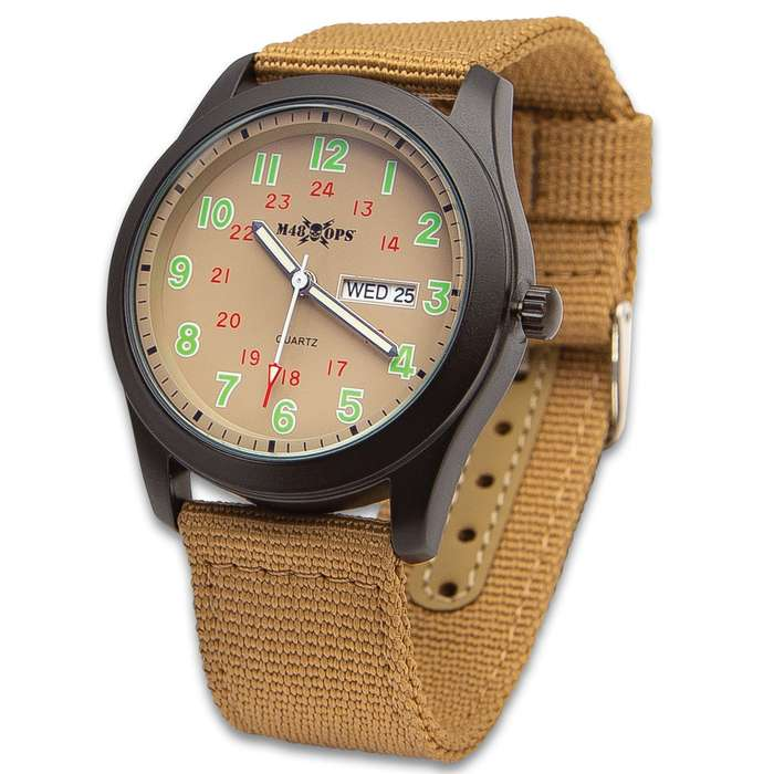 M48 Tan NATO Watch - Analog, Metal Case, Canvas Band, Glow-In-The Dark Numbers And Hands, Date Window, Military Time