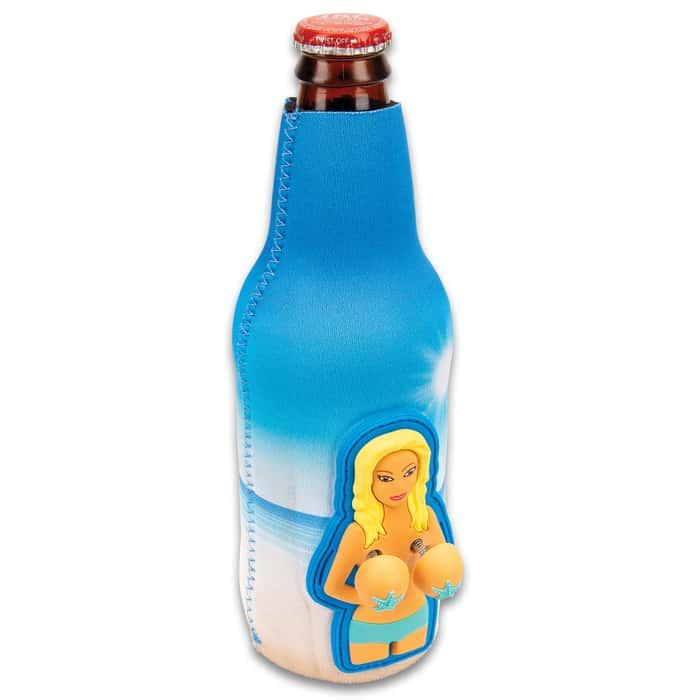 Bobble Babes Beach Babe Bottle Koozie - Neoprene and Rubber Construction, Full Color Artwork, Lots Of Jiggle, Fits Standard Bottle
