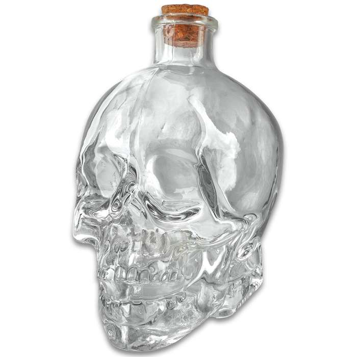 """Glass Skull Decanter With Cork Stopper - One-Piece Quality Sculpted Glass, Highly Detailed - Dimensions 5""""x 3 1/4""""x 5 3/4"""""""