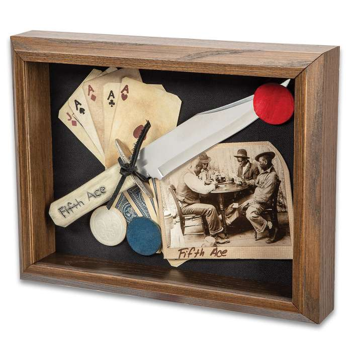 """Fifth Ace Gambling Shadow Box Wall Hanging - Solid Oak Frame, Antique Look, Historical Reproductions - Dimensions 8 1/2""""x 11 1/2"""""""