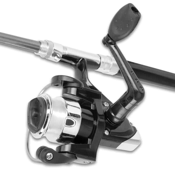 "Black Aluminum Alloy Fishing Rod Pen And Full Size Reel - Aluminum Alloy, Fiber Glass, Realistic Ink Pen Case, Includes Pre-loaded Line - Length 39"""