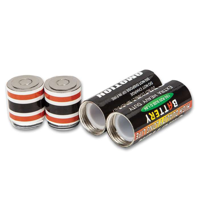 """Battery Stash Safe - Two-Pack, Realistic Look, Metal And Plastic Construction, Water-Resistant - Dimensions 2""""x 1/2"""""""