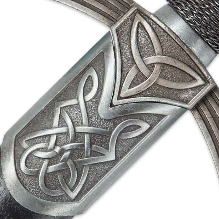 Emerald Triad Short Sword with Scabbard | Display-Edged Dagger with Celtic Knot Accents