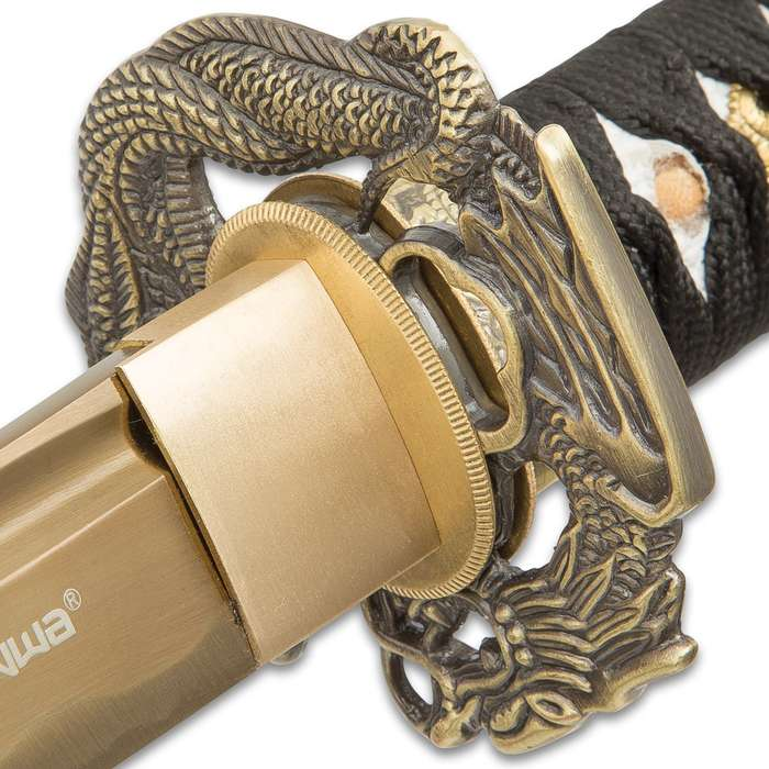 Shinwa Firefly Handmade Katana Samurai Sword - 1045 Carbon Steel - Dueling Dragon / Serpent Tsuba - Hardwood Saya, Black-and-Gold Spatter Pattern