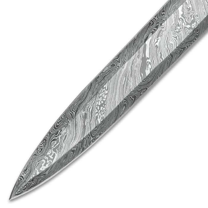"Timber Wolf Saga Handmade Double Edged Sword - Hand Forged Damascus Steel - Walnut, Camel Bone - Gladius Style Profile - Genuine Leather Belt Scabbard - 30"""