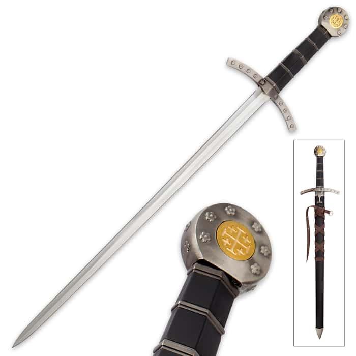 Jerusalem Rose - Medieval Crusader Short Sword with Sheath