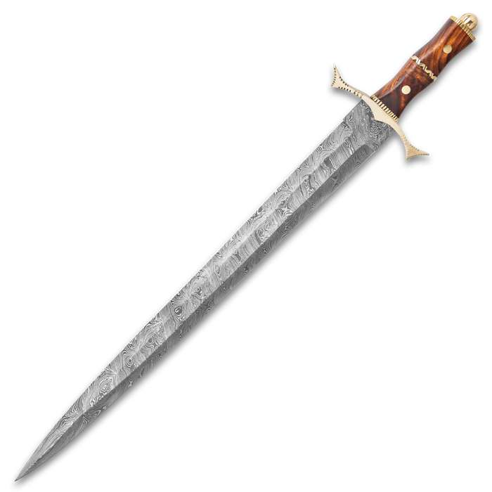 """Royal Ranger Damascus Sword And Sheath - Damascus Steel Blade, Wooden Handle, Metal Guard And Pommel - Length 28"""""""