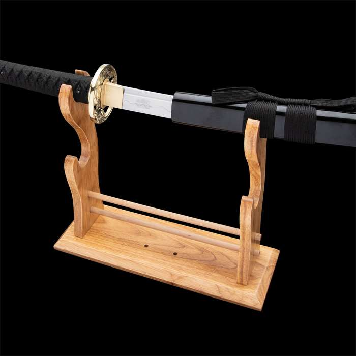 "Sokojikara Golden Tiger Katana And Scabbard - T10 Clay Tempered Steel Blade, Genuine Black Rayskin, Brass Tsuba And Fittings -Length 39 3/4"""