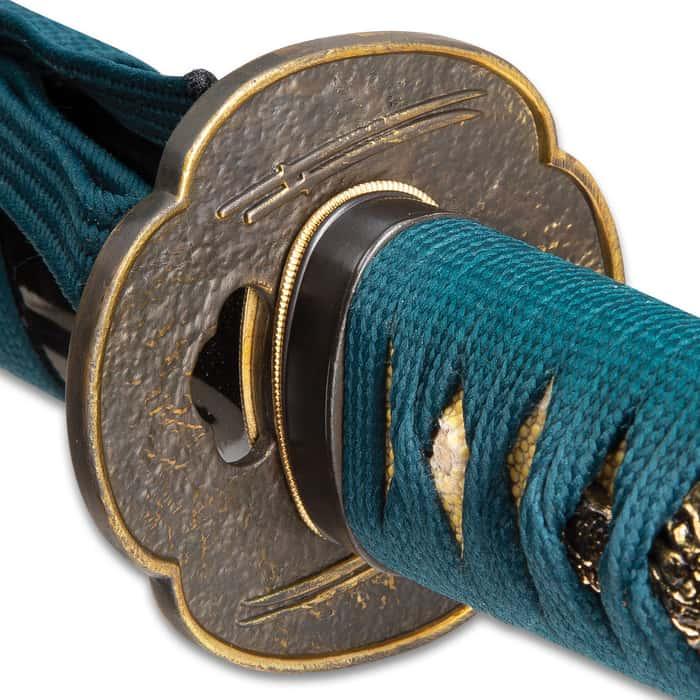 Shikoto Hammer-Forged Longquan Master Teal Wakizashi Sword - 1060 High Carbon Steel Blade, Tea-Dyed Rayskin, Brass Tsuba, Wooden Scabbard