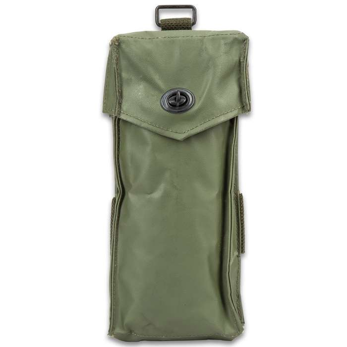 """Belgium Military Issued Rifle Magazine Pouch - Like New, Heavy-Duty PVC Construction, Metal Closure - Dimensions 4""""x10""""x1"""""""