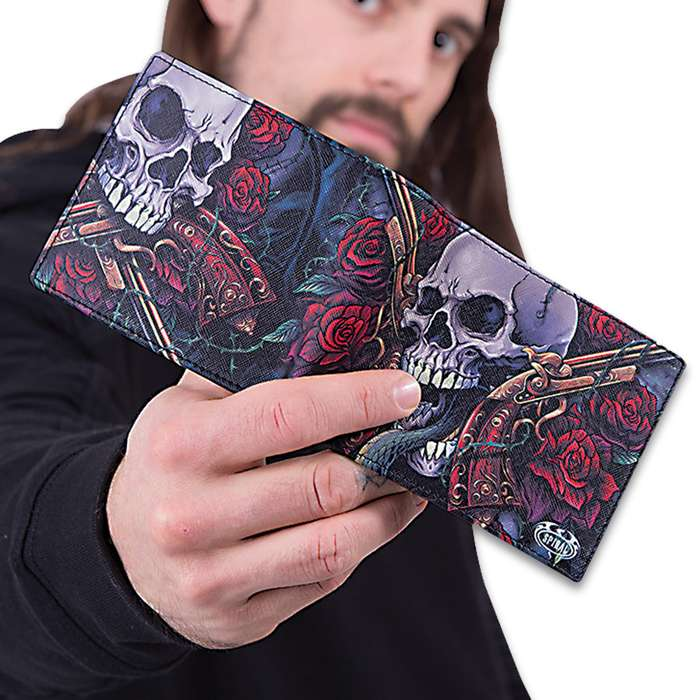 Lord Have Mercy Bifold Wallet With RFID Blocking - Faux Leather, Vivid Original Artwork, Eight Card Slots, Gift Box Included