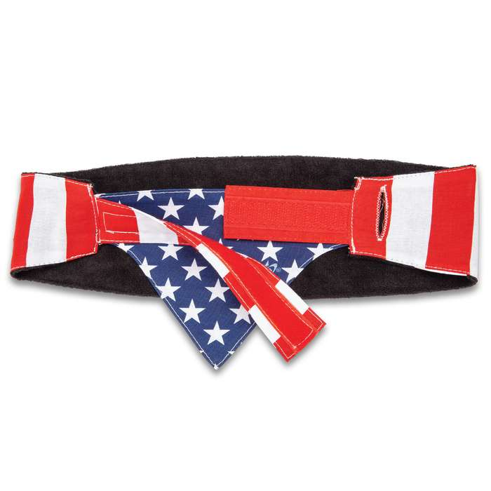 American Flag Chop Top Doo Wrap - Bandana Material, Terrycloth Sweatband, Double-Sided Tail, Hook And Loop Closure