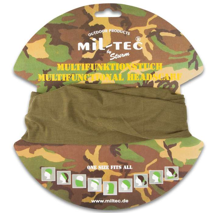 Mil-Tec Multifunctional Headgear - Military Issue Armed Services Army - Headband, Headscarf, Headwrap, Schal, Facemask, More - Elastic Polyester; Outdoors Yard Work; Sun / Wind Protection