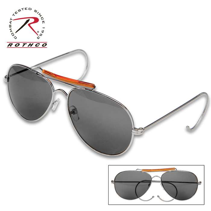 Rothco Aviator Mirrored Sunglasses With Case - 58 MM UV Acrylic Lens, Genuine Pilot Design, Curved Flexible Earpieces