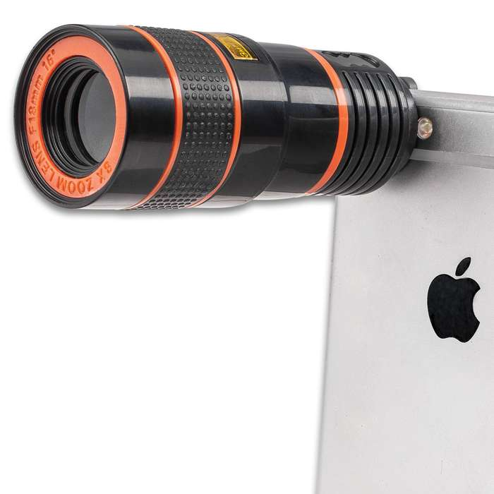 Universal Cell Phone Zoom Telescope - 8X Optical Magnification, Clip Attachment, Lens Caps - Length 2 3/4""